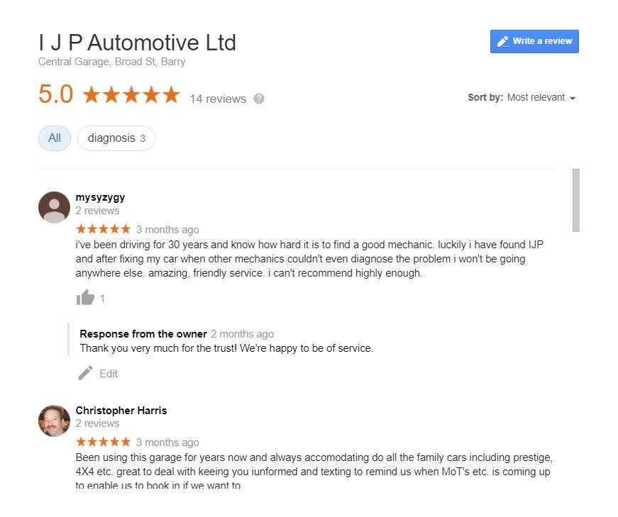 IJP Automotive Google My Business 5 Star Reviews